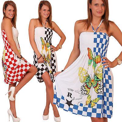 K35 Sommer Bandeau Kleid Karo Schmetterling Damen Strandkleid Tuchkleid Tuch Neu
