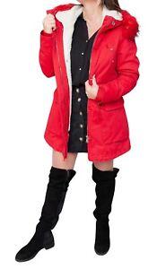 Hivernal Femme Veste Rouge Décontracté Parka Interne Avec Fourrure PWTTn65Ux