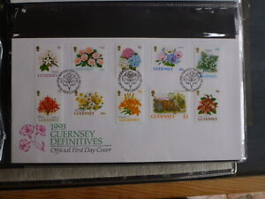 GUERNSEY-1993-DEFINITIVE-FLOWERS-SET-10-STAMPS-FDC-FIRST-DAY-COVER