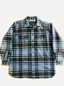 LL-Bean-Chamois-Cloth-Shirt-Flannel-Shirt-Mens-Large-Tall-Blue-Plaid