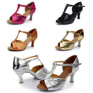 New-Women-039-s-Ballroom-Latin-Tango-Dance-Shoes-Heeled-Salsa-Sequin-Shoes-Size-6-9