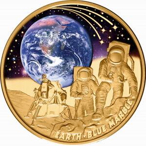Niue 2022 Earth BLUE MARBLE Apollo 17 Moon Module $100 1 Oz Pure Gold Color Prf