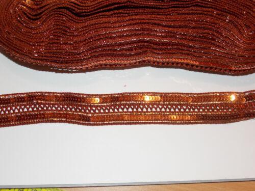 BRONZE COPPER sequin embroidered ribbon braid applique motif trimming decor