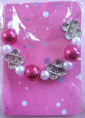 Bulk Lot x 6 Girls Party Bracelets Silver White + Pink Beads New in Pack