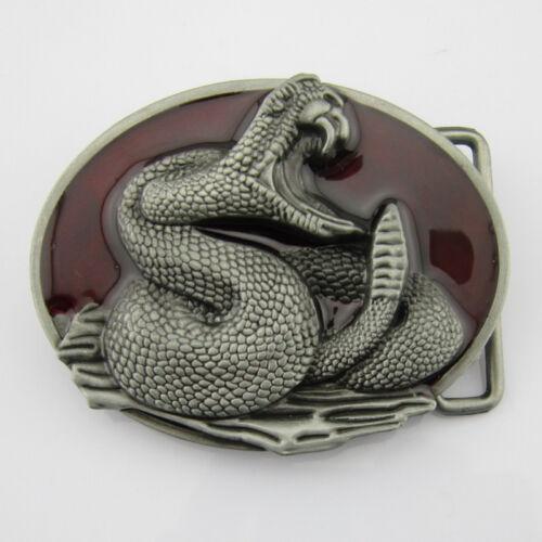 Western Cowboy New 3D Cobra Snake Silver Red Mens Metal Belt Buckle Leather Cool