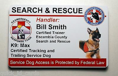 SEARCH AND RESCUE SERVICE DOG ID BADGE CUSTOM CARD WORKING DOG 25 | eBay