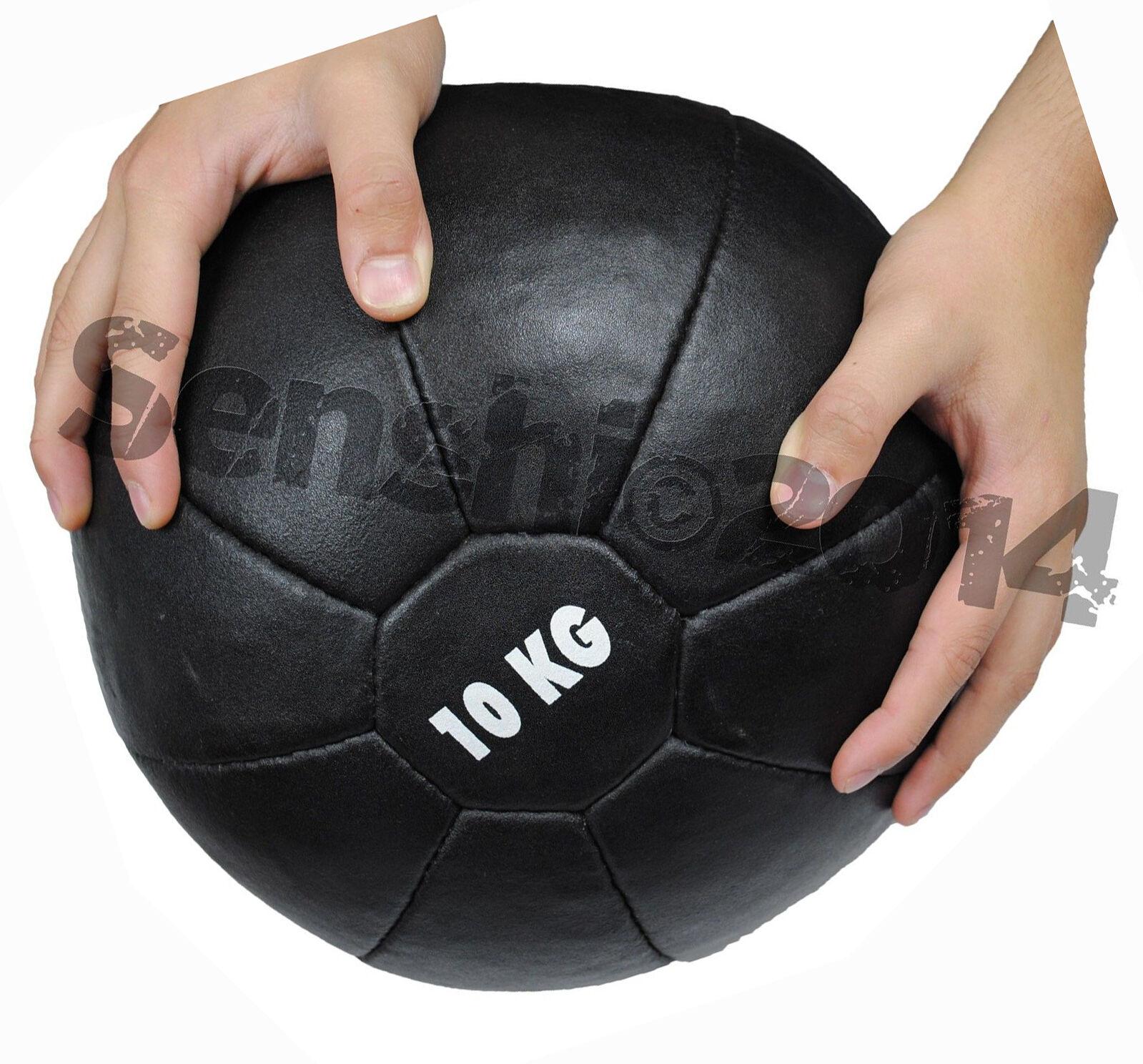 Medecine ball Boule Méga 10 kg Cousu Main Original Cuir 10