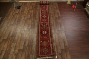 Vintage-Geometric-Gharajeh-Hand-Knotted-Palace-Size-Runner-Rug-3x32-Wool-Carpet