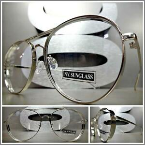 CLASSIC VINTAGE RETRO BLINDER Style Clear Lens EYE GLASSES Silver Fashion Frame