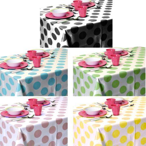 150x220cm Coloured Plastic PEVA Polka Dot Tablecloth Wipe Clean Wipeable Kitchen