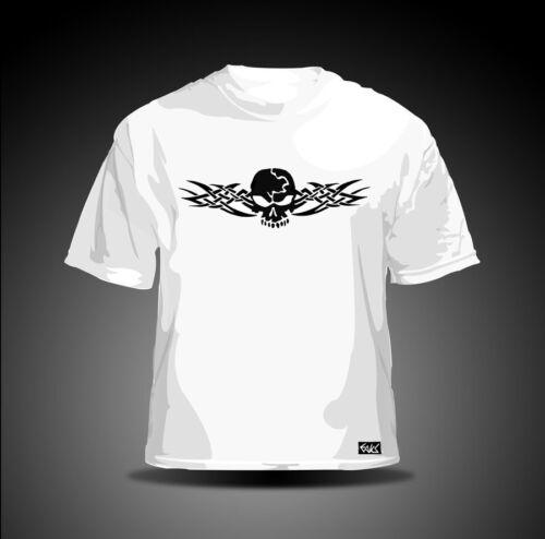 "EAKS® Herren T-Shirt /""TRIBAL SKULL/"" weiß Tattoo Totenkopf Biker//Rocker Gothic"
