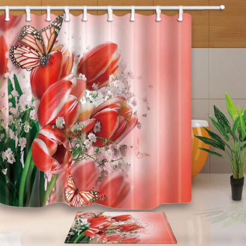 Belle des oeillets et papillon salle de bains Tissu Rideau de douche Set 71 in environ 180.34 cm