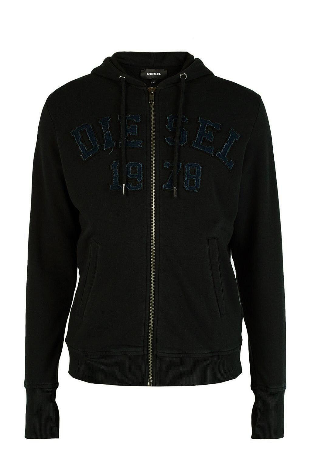 Authentic Rare DIESEL Men's Embroidered logo Hooded sweatshirt Cardigan