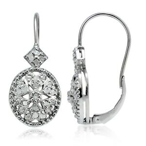 is s ebay oval earrings filigree leverback loading diamond itm image
