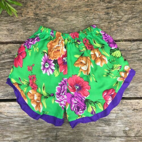Womens floral print high waisted shorts with lace summer boho hippy hippie S
