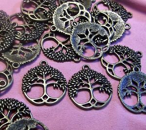 BRONZE METAL TREE-LIFE CHARMS-NATURE TRAIL PENDANTS-FINDI<wbr/>NGS-JEWELRY-LO<wbr/>T 30pcs