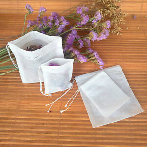 100Pcs Non-woven Empty Teabags String Heat Seal Filter Paper Herb Loose 6A