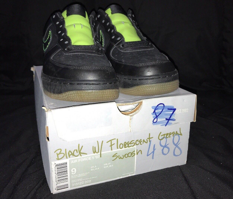 Nike air force 1 '07 schwarz / schwarz-volt 315122-002 mens mens 315122-002 sz - 9. 7d8c13