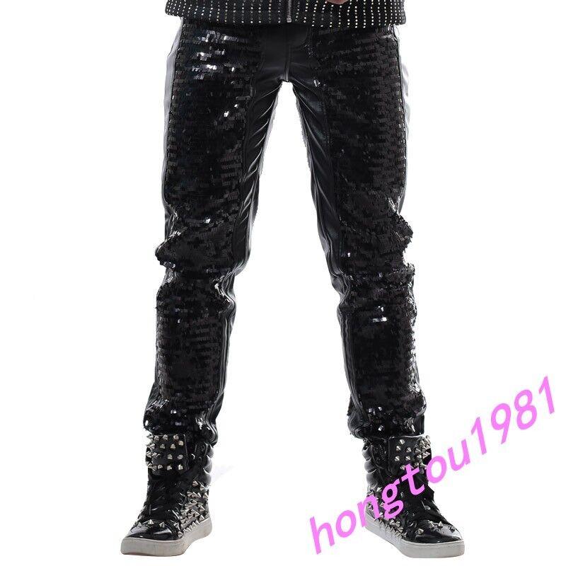 Moda Para hombres Pantalones de noche  club punk informal suelto Danza Pantalones Bling lentejuelas  ofreciendo 100%