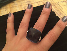 *HUGE* Big Chunky Cut Lab Created Sapphire Cocktail Ring - Size 8