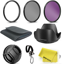 52MM UV CPL FLD Lens Filter and Lens Hood Kit for Lenses with a 52mm Filter Size