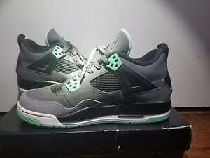 1f453490102 youth air jordans 4 retro dark gray/ green glow basketball shoes ...