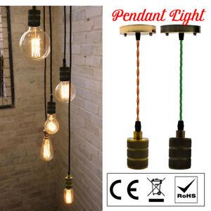 Vintage-Braided-Ceiling-Rose-Fabric-Flex-Lamp-Holder-Fitting-Pendant-Light-Kit
