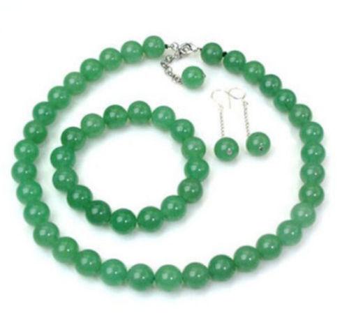 """Pretty 8mm green jade gemstone bead necklace bracelet earring Sets 18/"""" 7.5/"""" AAA"""