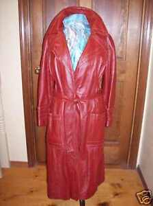 Dan-Di-Modes-vintage-70-039-s-Burgundy-Trench-Coat-Leather