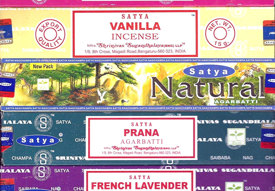 Mystic Rose Natural Patchouli Champa by Satya Vanilla Prana French Lavender Super Hit Egyptian Jasmine Opium Sandalwood Set of 12 Nag Champa