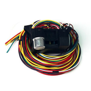 12v 10 circuit basic wire harness fuse box street hot rat rod image is loading 12v 10 circuit basic wire harness fuse box