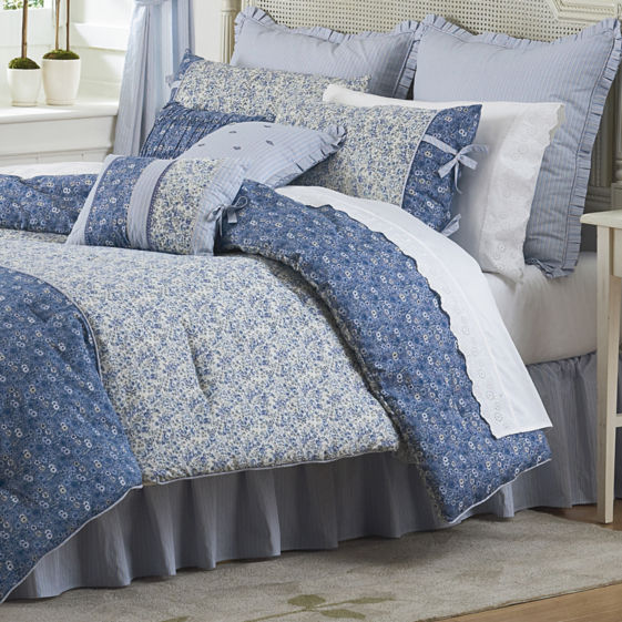 MARY JANE DORA   400 Queen Comforter Bed 4pc Blau CALICO FLORAL