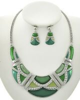 Green Lucite Marble Look On Silver Tone Necklace Earring Set