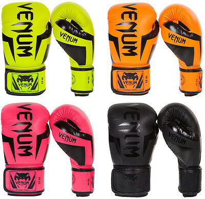 Venum Elite Skintex Leather Hook and Loop MMA Training Boxing Gloves Neo Pink