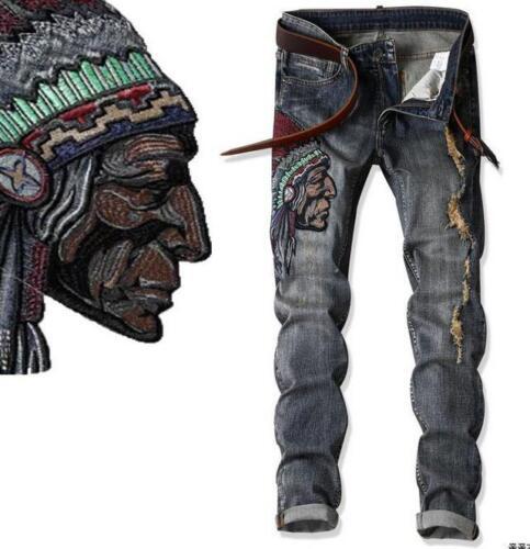 motor Jeans slim pantaloni Foto strappati uomo jeans jenas vintage fit UfOnzqa