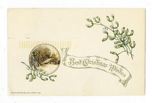 ANTIQUE-JOHN-WINSCH-CHRISTMAS-POSTCARD-SNOW-COVERED-HOUSE-MISTLETOE-TREES-1920