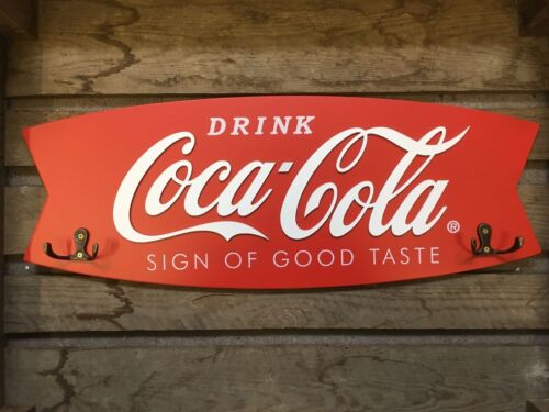 New /& Official In Box Sign Of Good Taste Fishtail Wooden Coat Rack Coca Cola