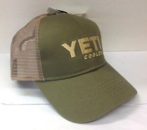 Image is loading YETI-TRUCKER-HAT-OLIVE-TAN-NEW fcaa87ae201
