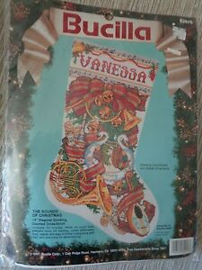 """Bucilla The Sounds of Christmas counted cross stitch 19"""" diagonal stocking kit"""