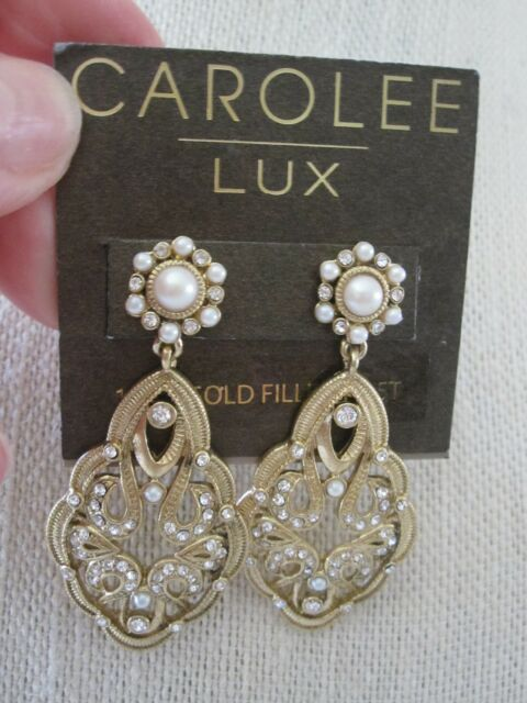 Nwt Carolee Lux Stunning Gold Tone Faux Pearl Pave Stone Hanging Earrings 75