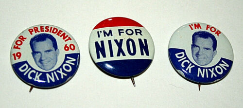 Set of 3 1960 Richard I/'m For Dick Nixon for President Campaign Button NOS New