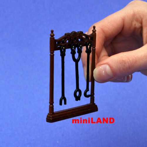 """fireplace tools stand for DollHouse  miniature1:12 wood quality 2/""""W x 2.5/""""H"""
