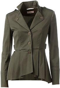 Nuevo-military-Edel-style-Long-blazer-con-schosschen-34-linea-Tesini-caqui-013831