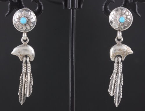 SILVER TURQUOISE STONE FETISH BEAR FEATHERS EARRIN