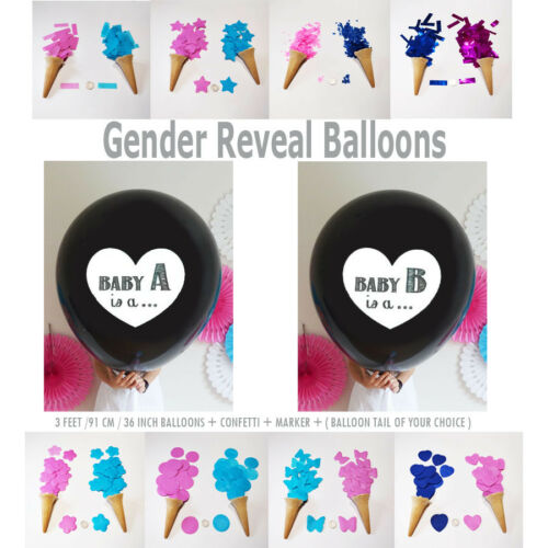 """Twins OH BABY Giant 36/"""" Gender Reveal Boy or Girl Confetti Balloon Kit Tassels"""