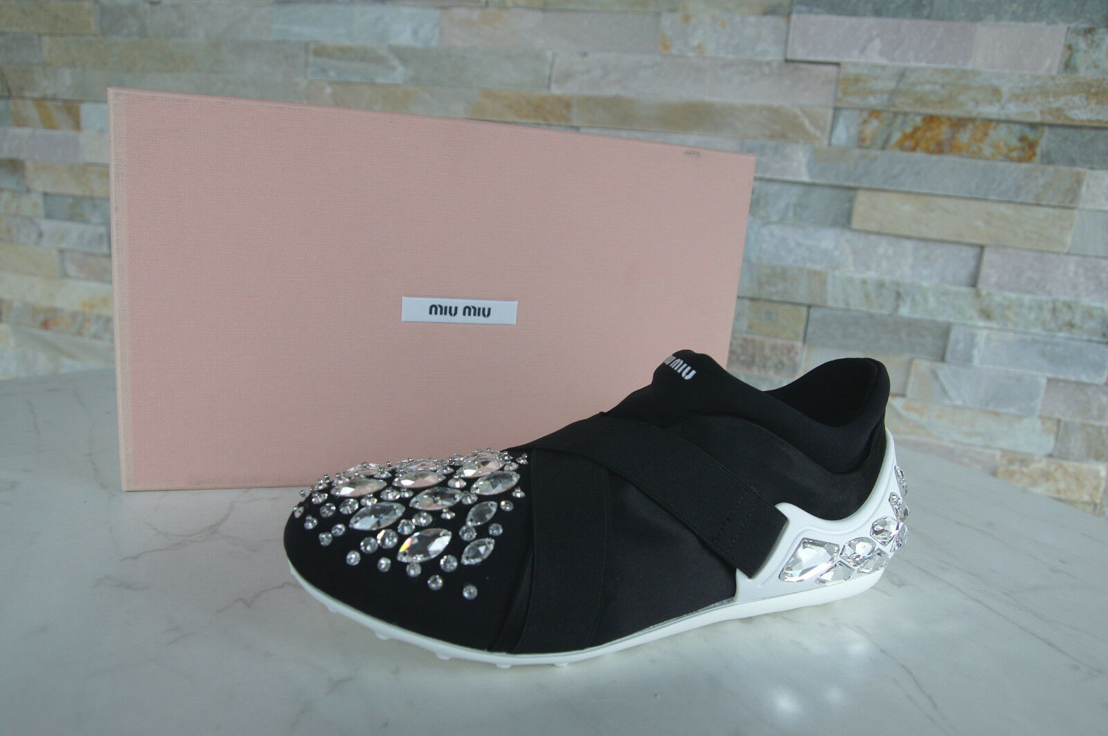 Miu Miu talla 35 Slipper slip-Ons zapatos piedras negro 5s583a 5s583a 5s583a nuevo ex PVP f25940