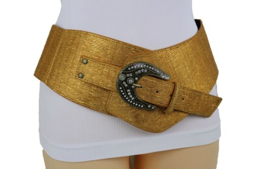 Women Extra Wide Band Western Belt Hip Waist Metallic Gold Color Plus Size XL