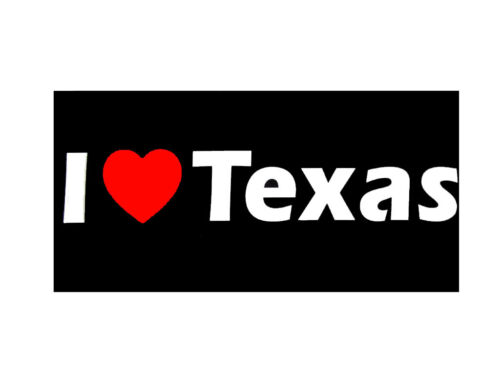 Texas US State Decal Bumper Sticker Wholesale Lot of 6 I Heart Love