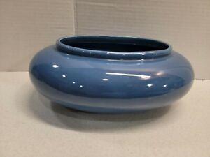 Vintage-Haeger-Ceramic-Pottery-Oval-Blue-Planter-10-5-x-7-x-4-Florist-Art-Deco
