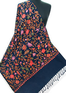 Royal-Blue-Indian-Wool-Shawl-Embroidered-Pink-Flowers-amp-Green-Vine-Pashmina-Ari
